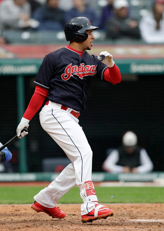 . Cleveland Indians\' Michael Brantley this a single in the seventh inning of a baseball game against the Kansas City Royals, Saturday, May 12, 2018, in Cleveland. (AP Photo/Tony Dejak)