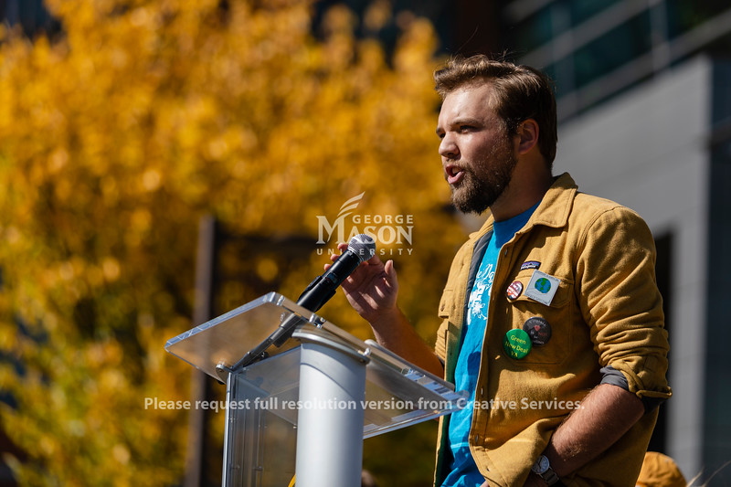 Ben Rhoades speaks during the Fridays for Future climate rally at George Mason University. Photo by Lathan Goumas/Office of Communications and Marketing   Photo Taken:Friday, October 18, 2019