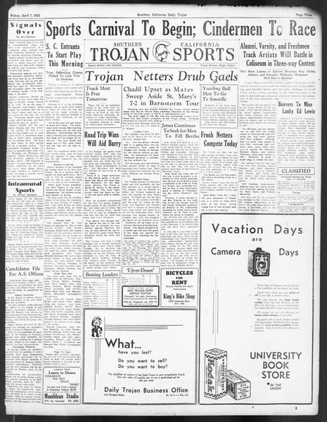 Daily Trojan, Vol. 24, No. 123, April 07, 1933