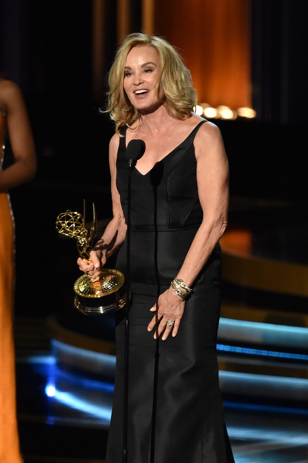 . Actress Jessica Lange accepts Outstanding Lead Actress in a Miniseries or Movie for \'American Horror Story: Coven\' onstage at the 66th Annual Primetime Emmy Awards held at Nokia Theatre L.A. Live on August 25, 2014 in Los Angeles, California.  (Photo by Kevin Winter/Getty Images)