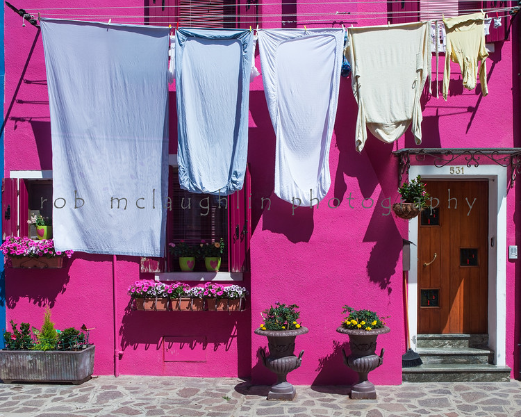 Laundry on Pink , Burano , Veneto