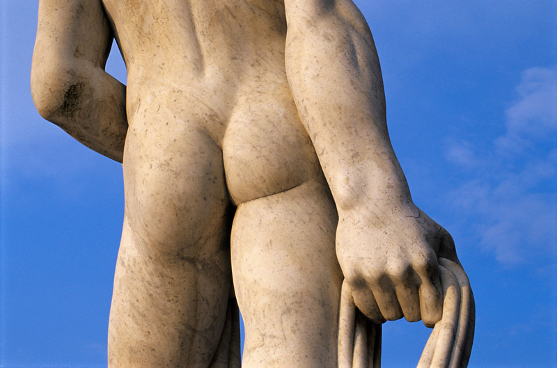 Backside of Statue at Foro Italico in Rome, Italy