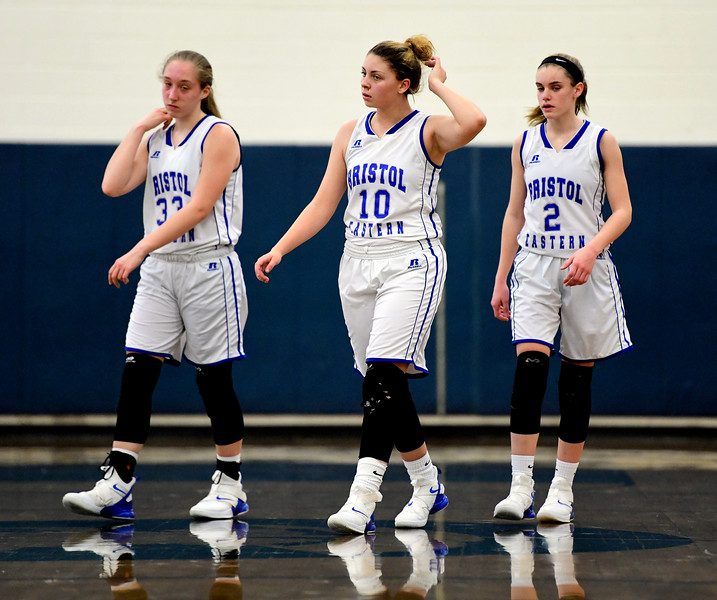 2/9/2019 Mike Orazzi | Staff Bristol Eastern's Jordan Ouellette (33), Meredith Forman (10) and Paige McLaughlin (2) during Saturday's girls basketball game in Bristol.