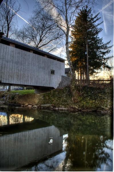 covered bridge - old rock wall and bridge reflection.jpg