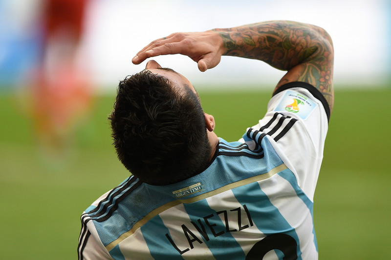 . Argentina\'s forward Ezequiel Lavezzi reacts during a quarter-final football match between Argentina and Belgium at the Mane Garrincha National Stadium in Brasilia during the 2014 FIFA World Cup on July 5, 2014. (JUAN MABROMATA/AFP/Getty Images)