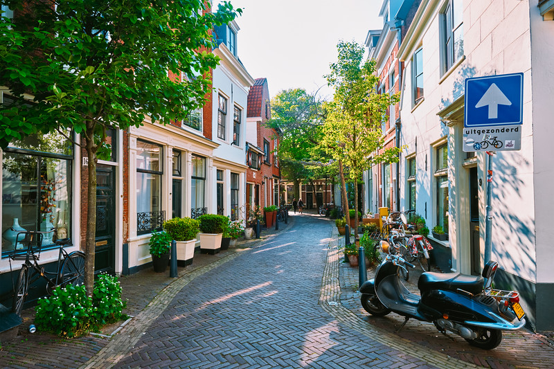 Street with old houses in Haarlem, Netherlands