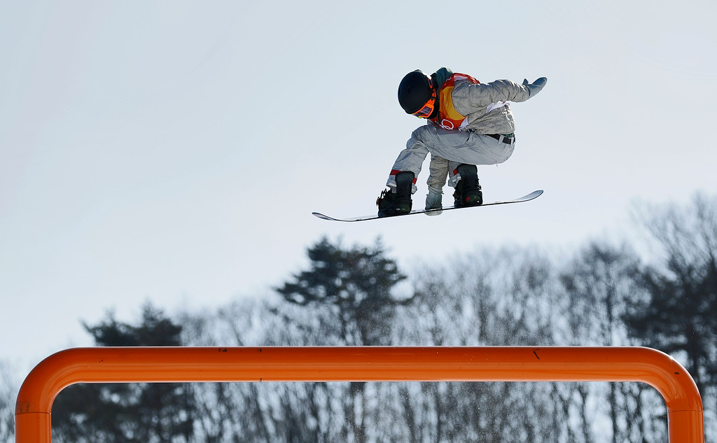 . Red Gerard, of the United States, jumps during the men\'s slopestyle final at Phoenix Snow Park at the 2018 Winter Olympics in Pyeongchang, South Korea, Sunday, Feb. 11, 2018. (AP Photo/Gregory Bull)