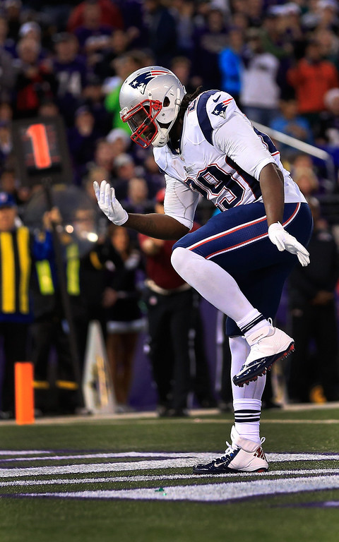 . Running back LeGarrette Blount #29 of the New England Patriots celebrates after scoring a first quarter touchdown against the Baltimore Ravens at M&T Bank Stadium on December 22, 2013 in Baltimore, Maryland.  (Photo by Rob Carr/Getty Images)