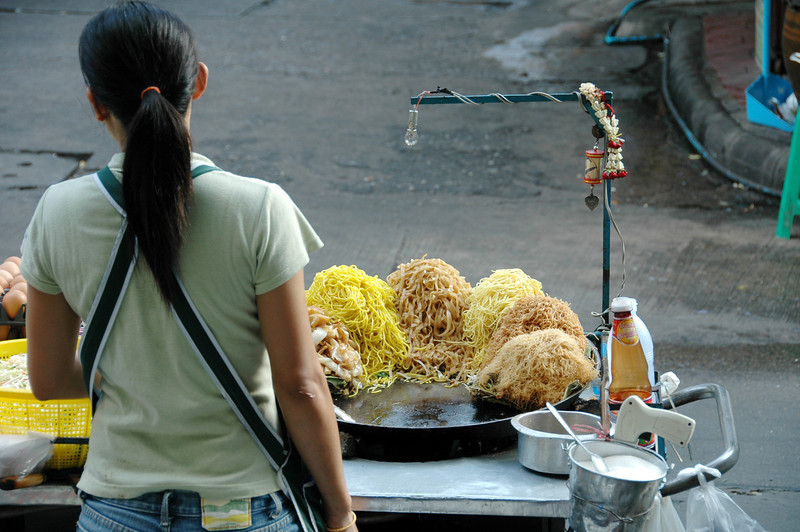 Woman Selling Pad Thai on the Street - Bangkok, Thailand