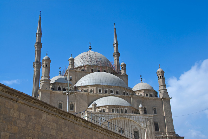 Closer shot of Mohamed Ali Mosque from outside - Cairo, Egypt