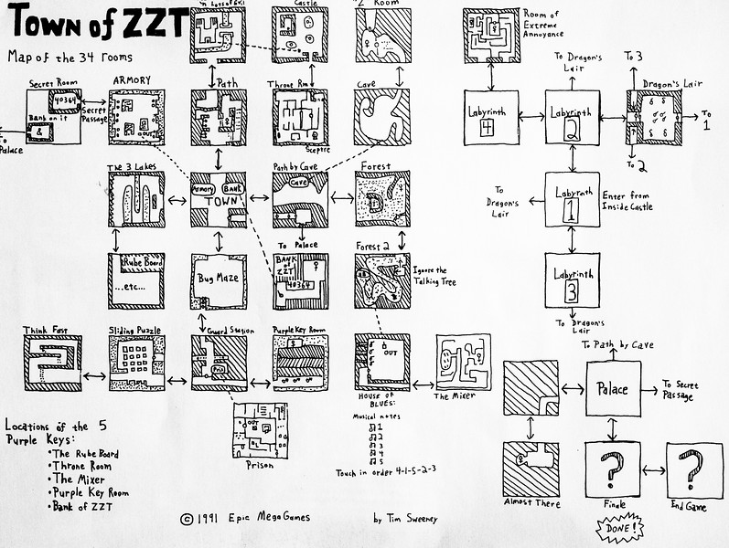 Hand-drawn map of ZZT from 1991, the first game from Epic Games