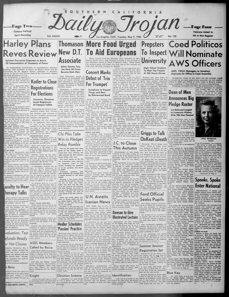 Daily Trojan, Vol. 37, No. 122, May 07, 1946