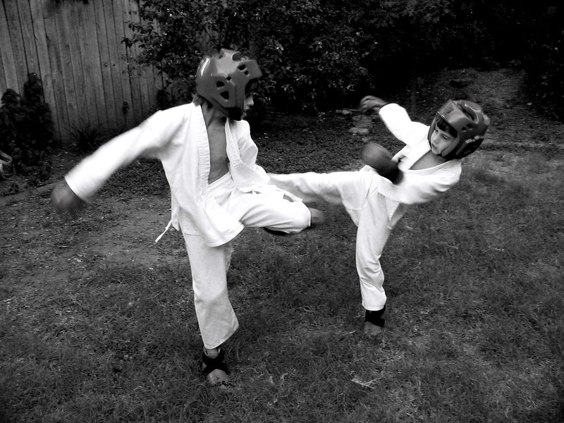 Sparring in the backyard