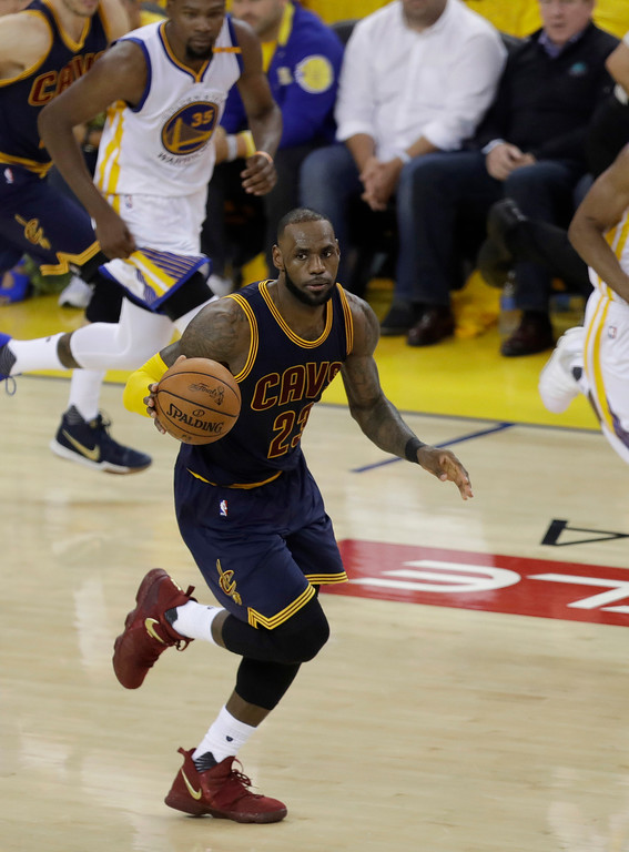 . Cleveland Cavaliers forward LeBron James (23) against the Golden State Warriors during the second half of Game 1 of basketball\'s NBA Finals in Oakland, Calif., Thursday, June 1, 2017. (AP Photo/Marcio Jose Sanchez)