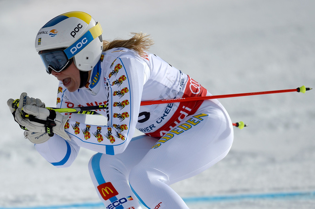 . BEAVER CREEK, CO - FEBRUARY 12: Frida Hansdotter of Sweden competes during the ladies\' giant slalom. FIS Alpine World Ski Championships 2015 on Thursday, February 12, 2015. (Photo by AAron Ontiveroz/The Denver Post)