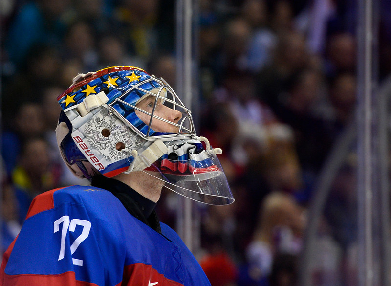 . Russia\'s goalkeeper Sergei Bobrovski looks on during the Men\'s Ice Hockey play-offs qualification match Russia vs Norway at the Bolshoy Ice Dome during the Sochi Winter Olympics on February 18, 2014.  (JONATHAN NACKSTRAND/AFP/Getty Images)