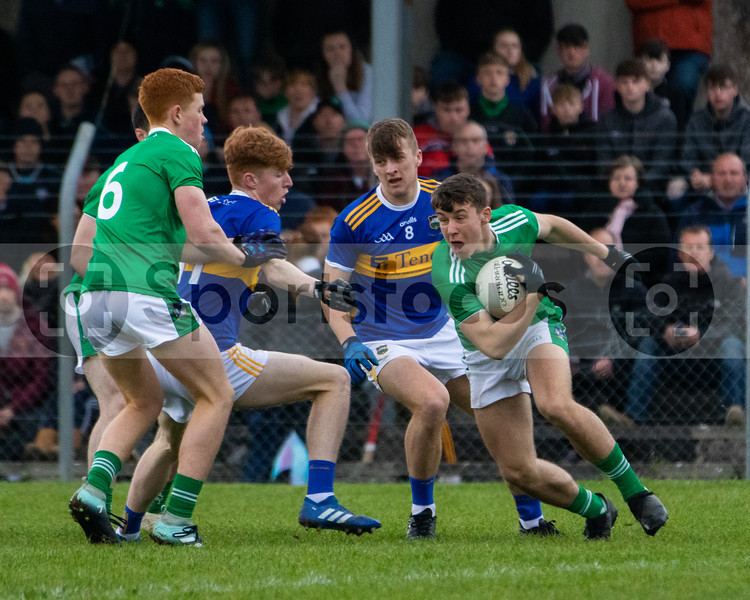 Limerick's Eliah Riordan(8), Darragh O'Keefe(6) in action against Tipperary's Kyle Shelly(11) and Paddy Creedon (8) during the Munster Minor Football Championship