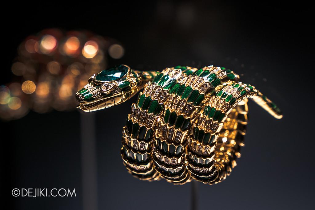 Bulgari SERPENTIform exhibition at ArtScience Museum - Bulgari High Jewellery showcase, Serpenti Emerald Gold Bracelet closeup