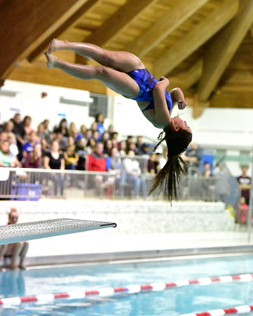 10/12/2019 Mike Orazzi | Staff Bristol Eastern's Emily Mulcunry during the city swim meet on Saturday night.