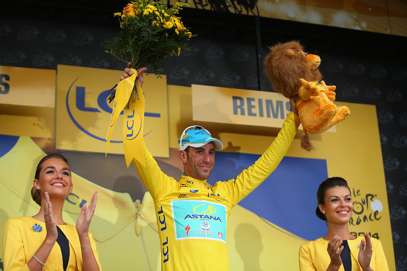 . Vincenzo Nibali of Italy and the Astana Pro Team retained his race leaders yellow jersey after stage six of the 2014 Tour de France, a 194km stage between Arras and Reims, on July 10, 2014 in Reims, France.  (Photo by Bryn Lennon/Getty Images)