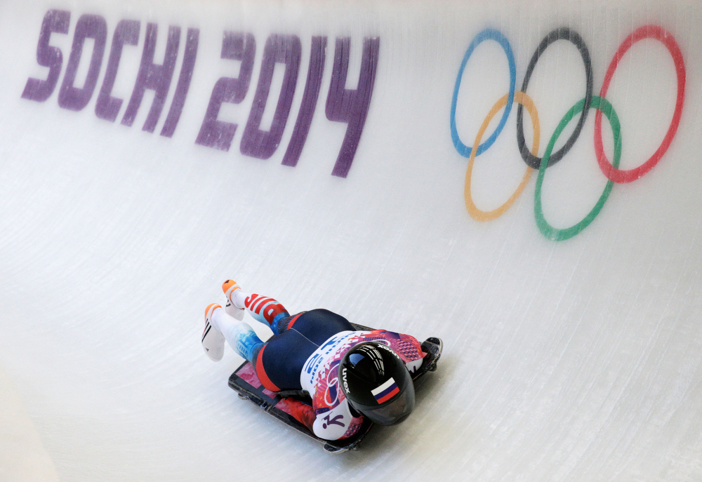 . Elena Nikitina of Russia during the Women\'s Skeleton heats on Day 6 of the Sochi 2014 Winter Olympics at Sliding Center Sanki on February 13, 2014 in Sochi, Russia.  (Photo by Adam Pretty/Getty Images)