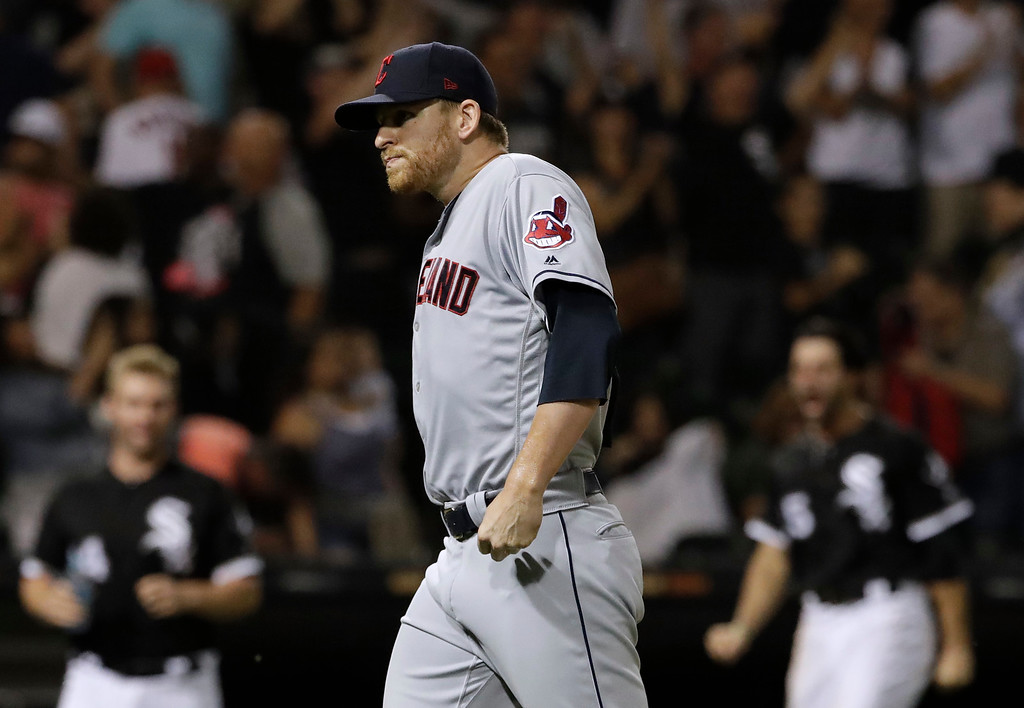 . Cleveland Indians relief pitcher Neil Ramirez leaves the field after Chicago White Sox\'s Daniel Palka hit the game-winning solo home run during the ninth inning of a baseball game Friday, Aug. 10, 2018, in Chicago. The White Sox won 1-0. (AP Photo/Nam Y. Huh)