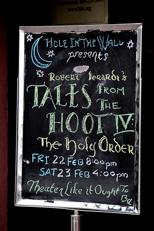 2/23/2019 Mike Orazzi | Staff Robert Ierardi, performs Tales from the Hoot IV: The Holy Order, at the Hole in the Wall Theater in New Britainon Saturday in New Britain.