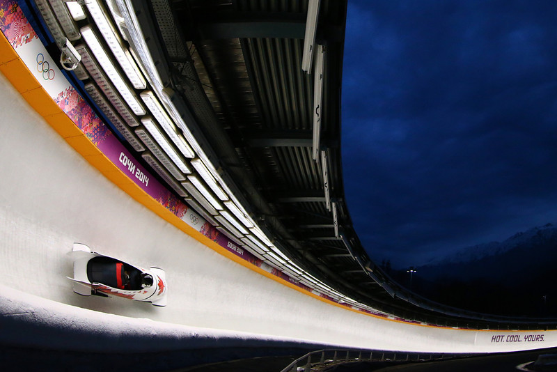 . Pilot Chris Spring and Jesse Lumsden of Canada team 2  make a run during the Men\'s Two-Man Bobsleigh on Day 10 of the Sochi 2014 Winter Olympics at Sliding Center Sanki on February 17, 2014 in Sochi, Russia.  (Photo by Al Bello/Getty Images)