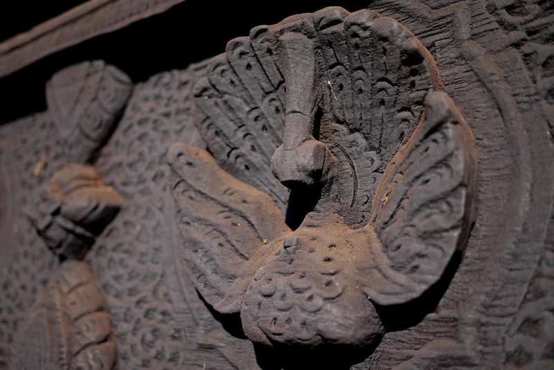 Peacock designs on the Bagaya Kyaung Monastery on Innwa (Ava) near Mandalay.