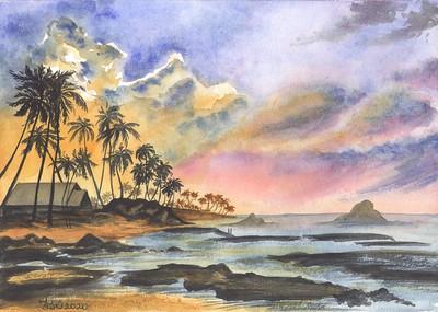 """Magical sunset"" (watercolor) by Julia Gavrilova"