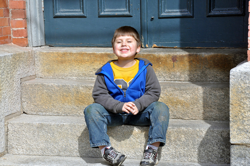 Jonah on the steps of the Congdon Street Baptist Church.
