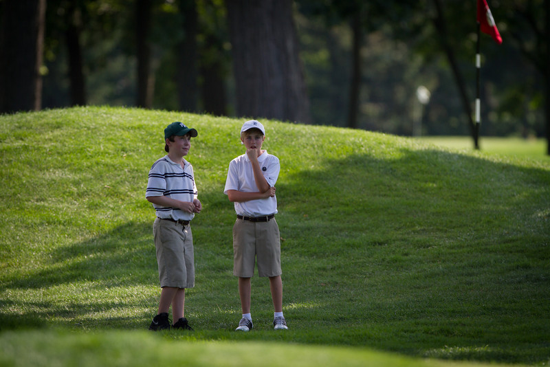 Young fans watch golf action during the final round of medal play at the 2012 Western Amateur Championship at Exmoor Country Club in Highland Park IL. on Thursday, August 2, 2012. (WGA Photo/Charles Cherney)