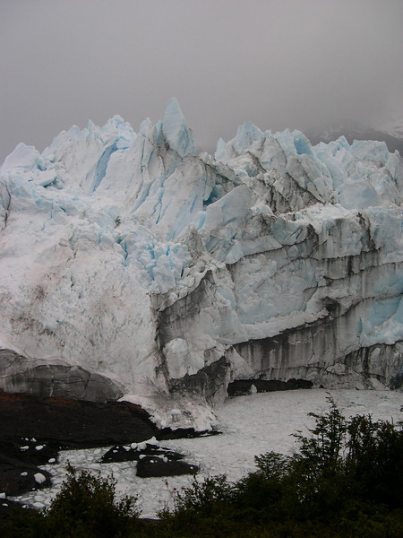 This glacier is up to 200 feet deep: It takes about  100 feet of snow to make  one foot of glacial ice.