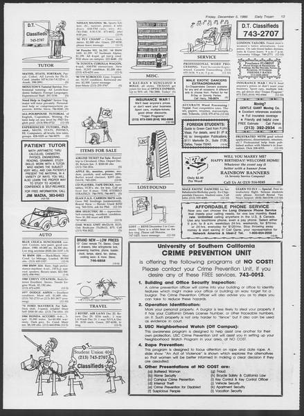 Daily Trojan, Vol. 102, No. 65, December 05, 1986