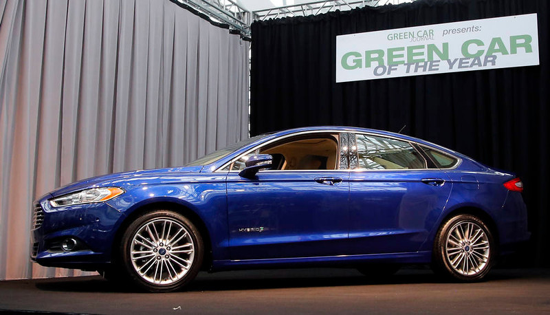 . The Ford Fusion wins the Green Car of The Year award at the LA Auto Show in Los Angeles, Thursday, Nov. 29, 2012. The annual Los Angeles Auto Show opened to the media Wednesday at the Los Angeles Convention Center. The show opens to the public on Friday, November 30. (AP Photo/Jae C. Hong)