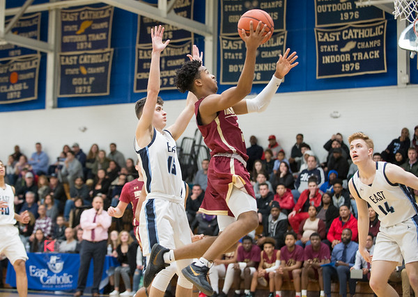 01/17/20 Wesley Bunnell | StaffrrNew Britain boys basketball was defeated at East Catholic on Friday night at East Catholic High School. Tahmeen Dupree (5).