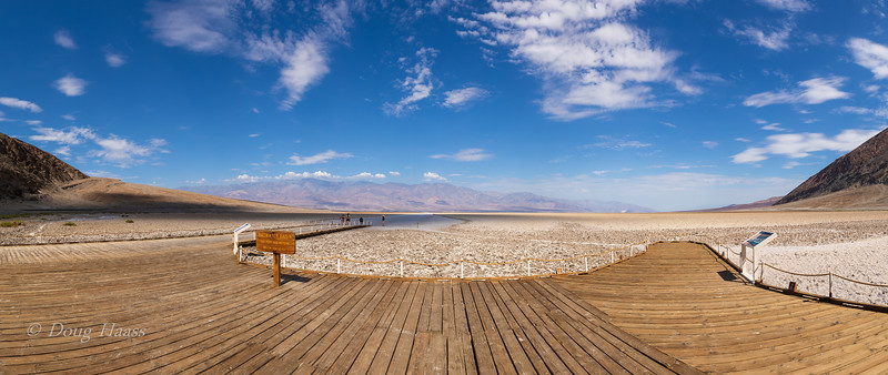 Badwater Basin...lowest point in North America at 282 feet below sea level. July 2018.  View from boardwalk.