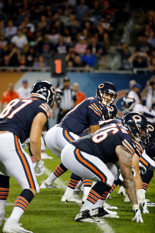 . Chicago Bears quarterback Mitchell Trubisky (10) calls a play during the first half of an NFL preseason football game against the Denver Broncos, Thursday, Aug. 10, 2017, in Chicago. (AP Photo/Charles Rex Arbogast)