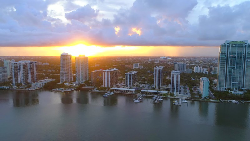 Drone footage of a beautiful sunset