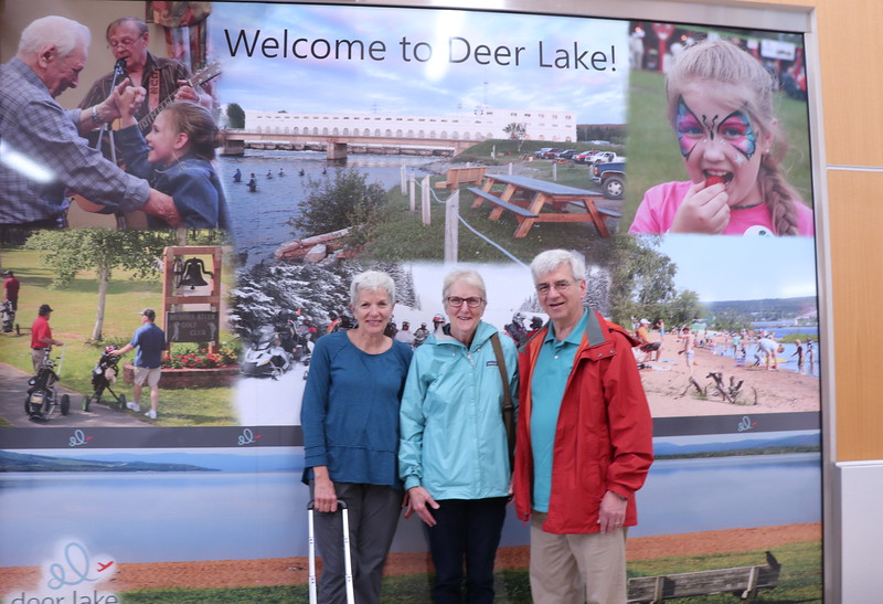 Welcome to Deer Lake ! at the Deer Lake Airport - we flew via Air Canada & Anita & Dave drove via Kia.