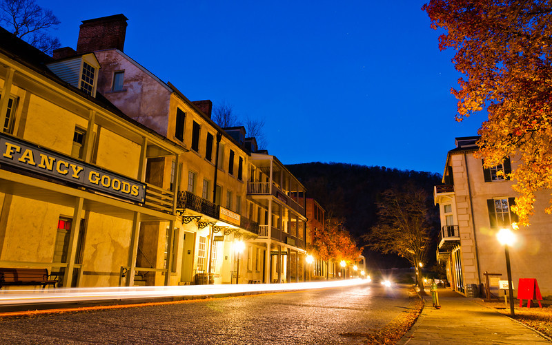 Shenandoah Street at Night, Harpers Ferry, WVA