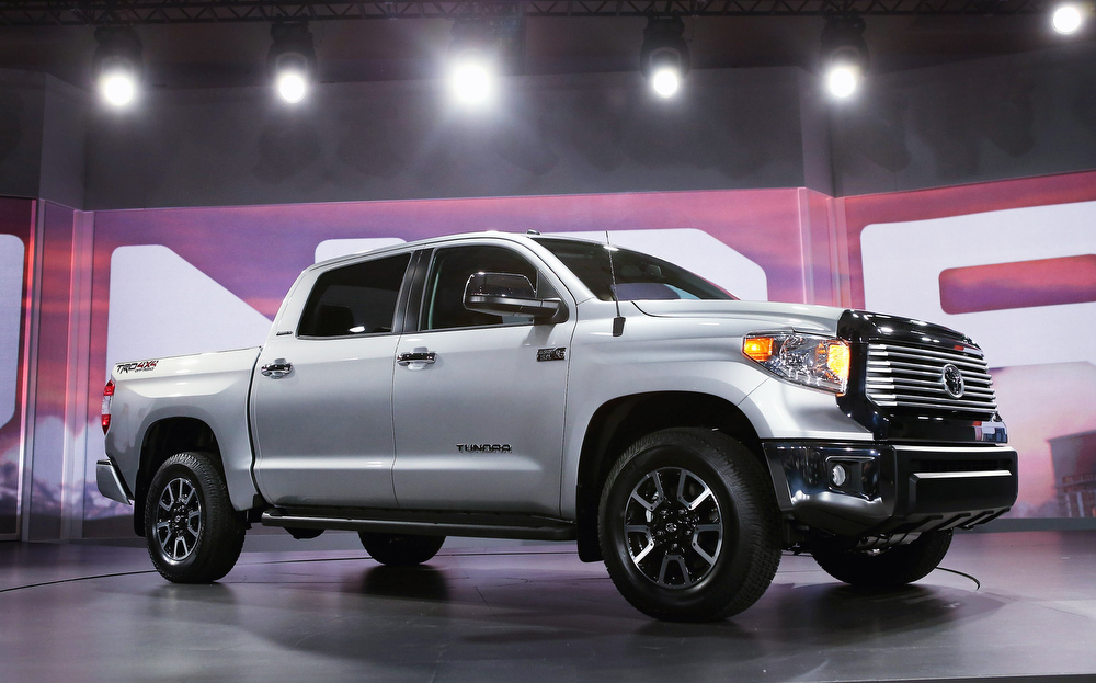 Description of . Toyota introduces the 2014 Tundra pickup truck at the Chicago Auto Show on February 7, 2013 in Chicago, Illinois. The Chicago Auto Show, one of the oldest and largest in the country, will be open to the public February 9-18.  (Photo by Scott Olson/Getty Images)