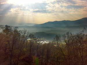 Sunrise over the Smoky Mountains in North Carolina
