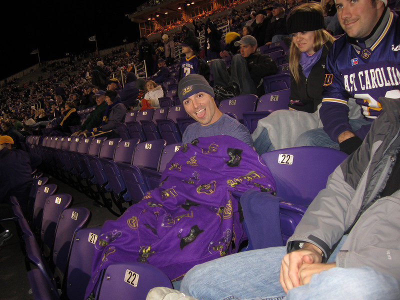 11/5/2011 ECU vs Southern Miss - Chris in a snuggie