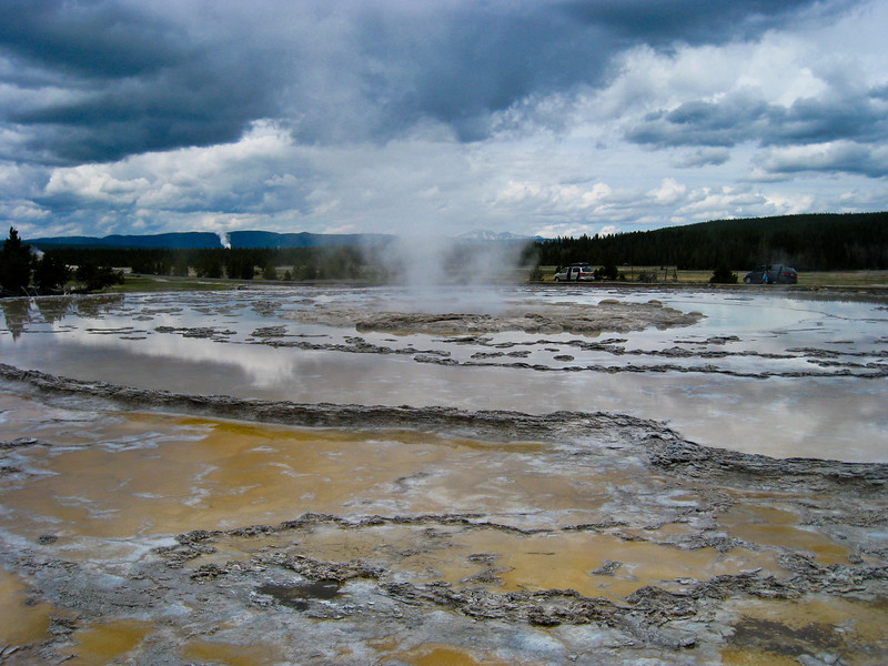 Stormy afternoon at Great Fountain Geyser at the Firehole Lake - Lower Geyser Basin