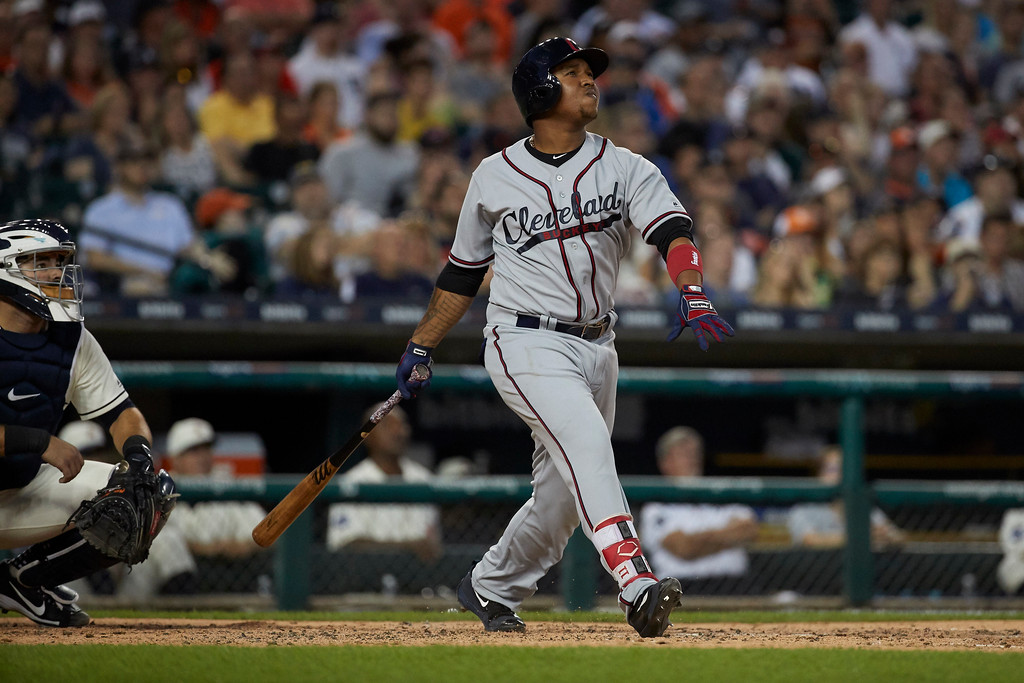 . Cleveland Indians Jose Ramirez hits a two-run home run against the Detroit Tigers during the sixth inning in the second baseball game of a doubleheader in Detroit, Saturday, July 1, 2017. (AP Photo/Rick Osentoski)