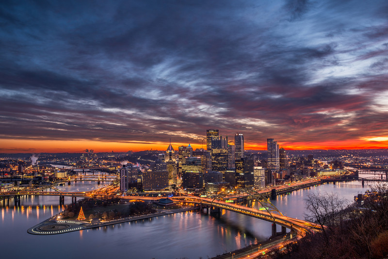 """Sliver of Red"" - Pittsburgh, Mount Washington