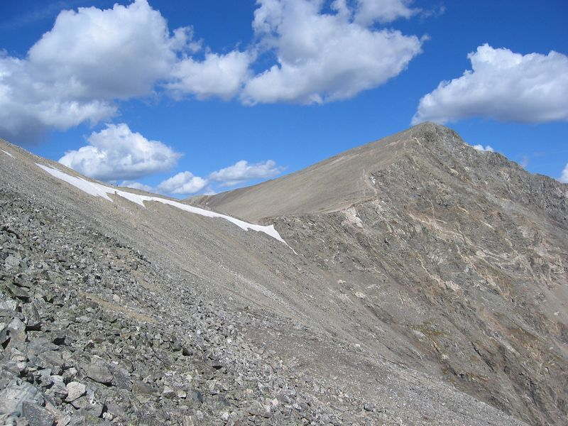 Grays saddle over to Torreys. .. Torreys route is up this east ridge.