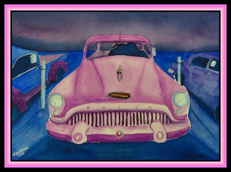 Last Row Romance - 1953 Buick, 9x12, watercolor, march 17, 2018.