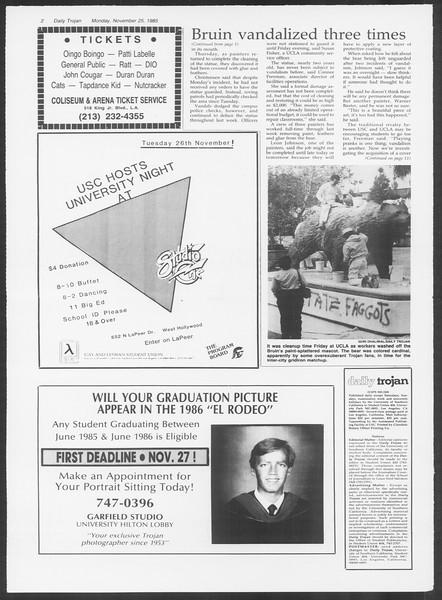 Daily Trojan, Vol. 100, No. 57, November 25, 1985